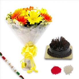 Rakhi With Mixed Gerbera