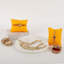 Two Rakhi with kaju Katli