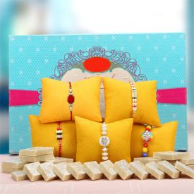 5 Sets Rakhi With Kaju Burfi