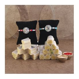 Designer Rakhi With kaju katli and Roli