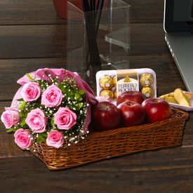 Apple With Pink Roses And Rocher