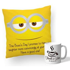 Boss Printed Cushion And Mug