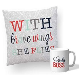 Printed Cushion With Mug