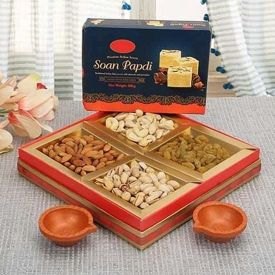 Dry Fruits With Diya And Papdi