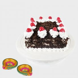 Black forest cake with Diya