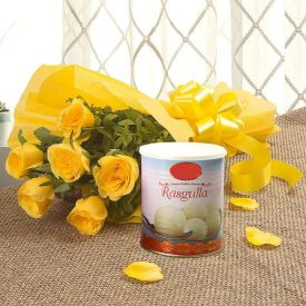 Yellow Roses With Rasgulla