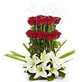 Roses With Lilies Basket  Arrangements
