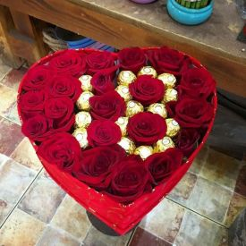 Personalized Floral Arrangement with a heart-shaped box
