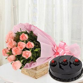 Pink Roses With Truffle Cake