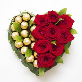 Heart of roses and chocolate