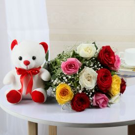 Mixed Roses N Teddy Bear