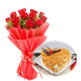 Red Roses With Butterscoth Cake
