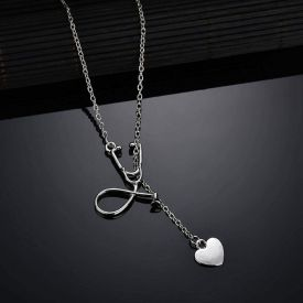 Doctor Nurse Stethoscope Heart Necklace