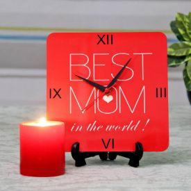Wooden Best Mom Clock with Red Candle