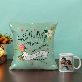 Personalized Mug with Cushion Hamper for Mom
