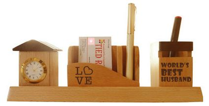 Love Pen Stand with Visiting card stand and Clock