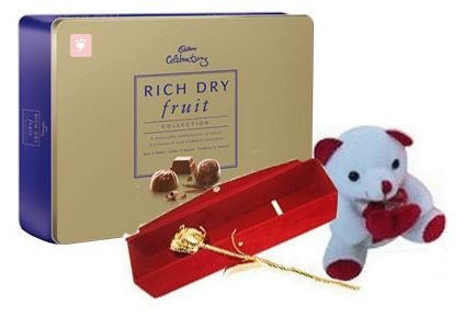 Cadbury Celebration with teddy and Golden Rose