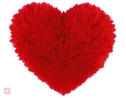 Red Faux Fur Heart Shaped Decorative Valentine Pillow
