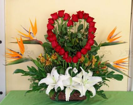 Basket of heart arrangement
