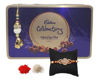 Cadbury Celebrations Rich Dry Fruits Box With Set Of 2 Bhaiya Bhabhi  Rakhi