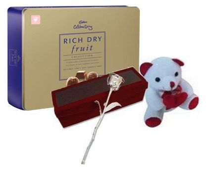 Cadbury Celebration with teddy and Silver Rose