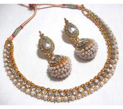 Golden Big Gota Pearl Necklace Set