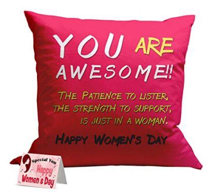 Happy women's day printed cushion