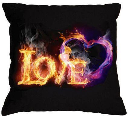 "Burning heart Black pillow ""LOVE"" Gift ideas Valentine's Day Gift for her Gift for him"