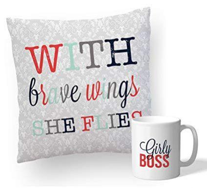Printed Cushion With Mug