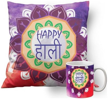 Holi Cushion with Mug