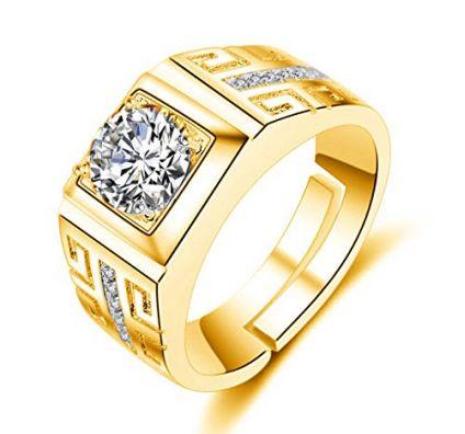 Gold Crystal Adjustable Men's Rings