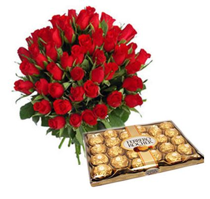 Basket of Red Roses with Ferero Rocher