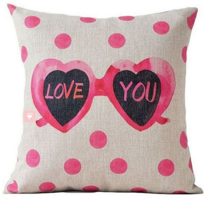 Love You with Heart Glasses - Pillow Cover
