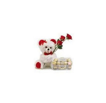 Teddy Bear (6 inches) with 3 Rose and 16 pcs Ferrero rocher