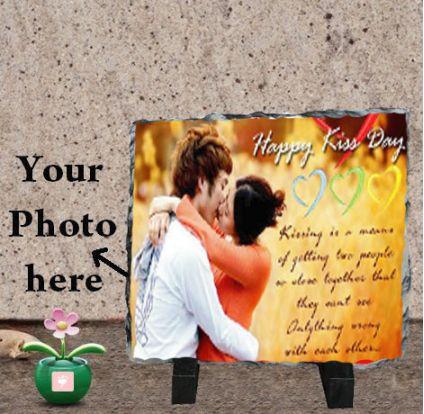 Happy Kiss Day Photo Stone