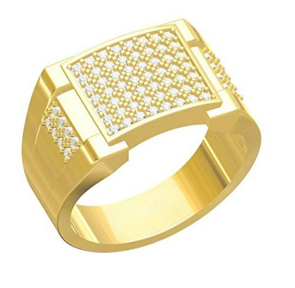 Gold Plated American Diamond Jewellery Ring For Men