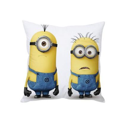 Confused Minions White Silk Cushion