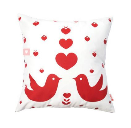 Red Print on White Love Birds