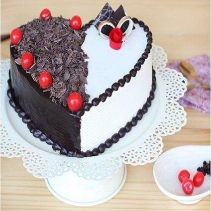 Heart shape Black forest Vanilla cake