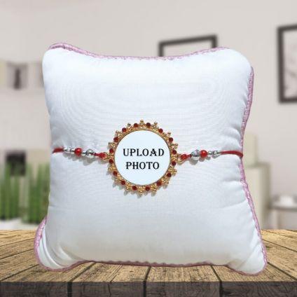 Personalized Round Rakhi With Cushion