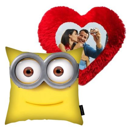 Minions Cushion with Heart Pillow