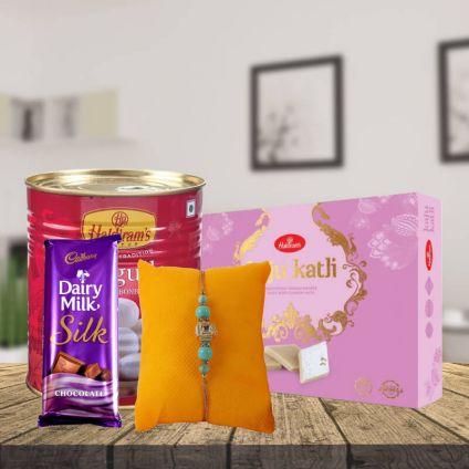 Rakhi,Haldiram Rasgulla,Kaju Katli,Chocolate