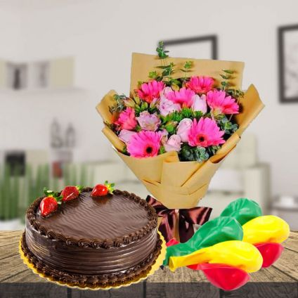 1 Kg Chocolate Cake,12pcs Mixed Flowers and 6 pcs Balloons