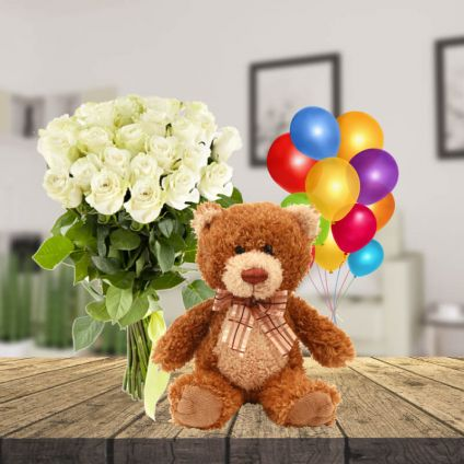 12 white Roses with 6 inch White Teddy bear and 6 pcs Balloons