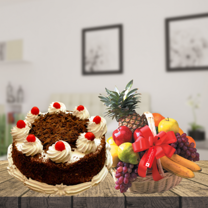 Black forest with fruits basket