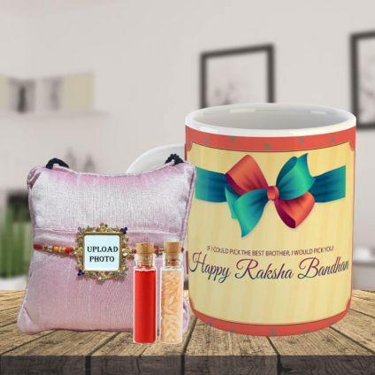 Square Shape Rakhi With printed Mug
