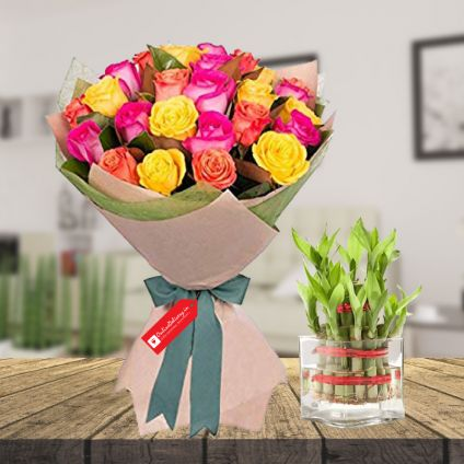 Mix roses & 2 layer bamboo with Vase
