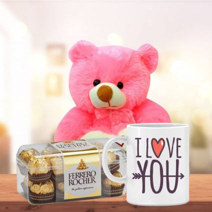Love You Mug with Teddy and 16 Pcs Ferrero Rocher