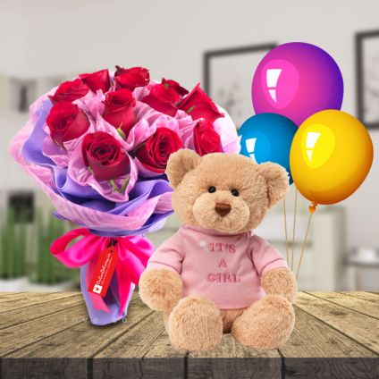 12 Red Roses,6 inch Teddy bear and 6 pcs balloons