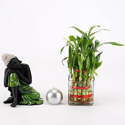 Relaxing Buddha with Bamboo Combo